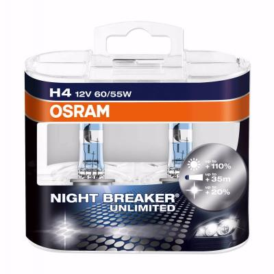 картинка Лампа галогенная  NIGHT BREAKER UNLIMITED H4 12V 60/55W P43t (бокс 2шт.)OSRAM 64193 NBU-DUO от магазина Логан-Маркет